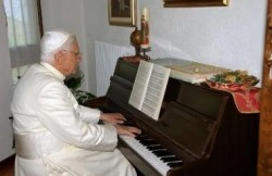 The Pope playing his beloved Mozart
