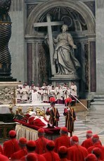 Pope John Paul II lying in state in the Clementine Hall of the Apostolic Palace